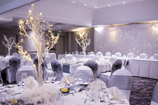 Wedding Photography Solihull, the wedding breakfast room before everyone goes in for the meal at the Westmead Birmingham