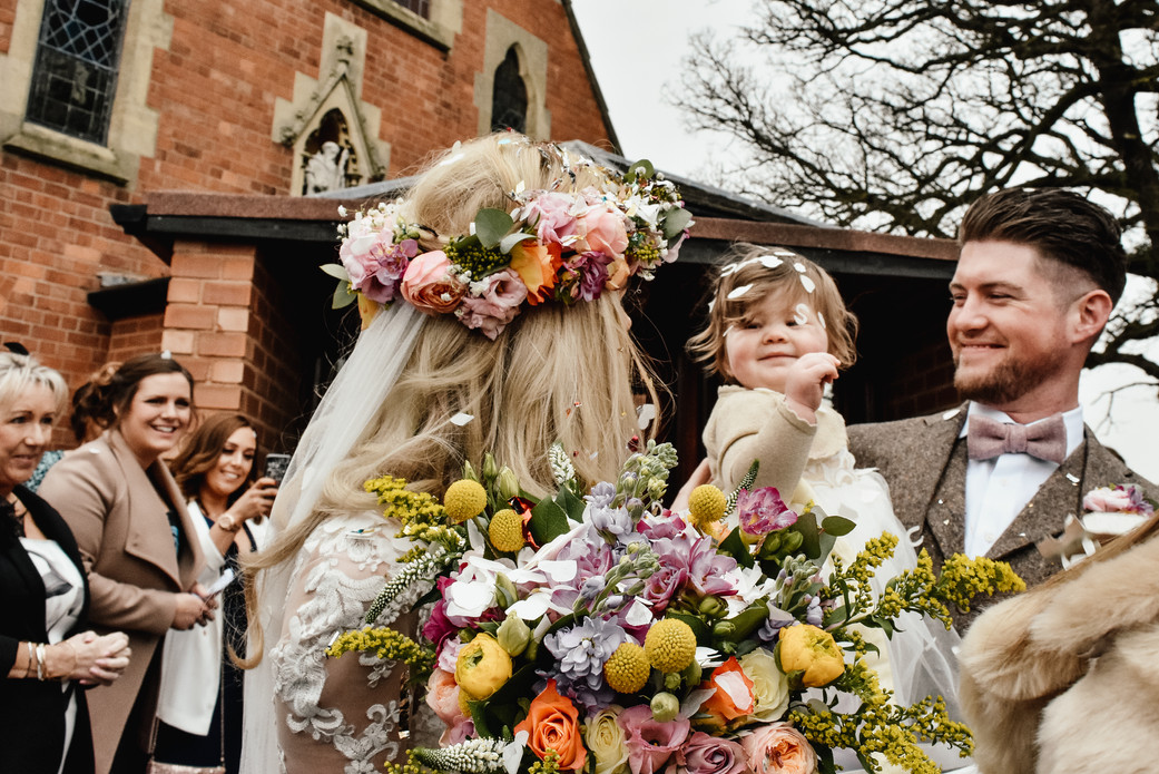 Birmingham wedding Photography, bride & groom with their daughter the flower girl
