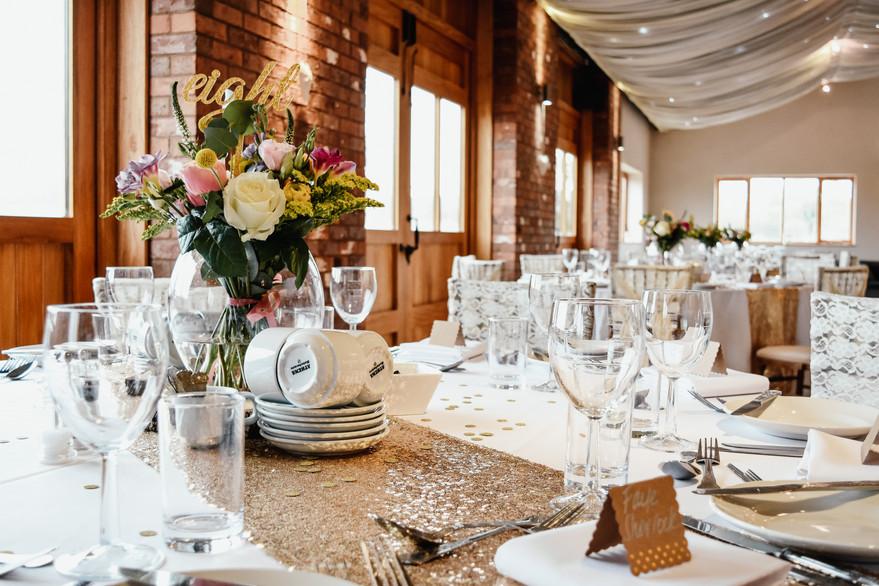 Birmingham wedding photographer, table set up for the wedding breakfast at Wootton Park Warwickshire