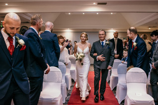 Wedding Photography Solihull, bride & brides father walking down the aisle at the wedding ceremony at the Westmead hotel Birmingham