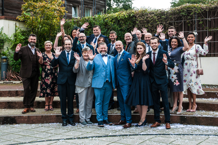 Wedding Photographer Birmingham Register Office, fun group photograph for an intimate wedding