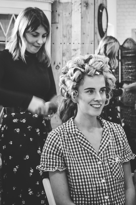 Wedding Photographer Birmingham, the bride having her curlers taken out before her big day, Wootton Park Wedding Photographer Warwickshire, black & white Photograph of bride getting ready, hair in curlers, wedding photographer Birmingham
