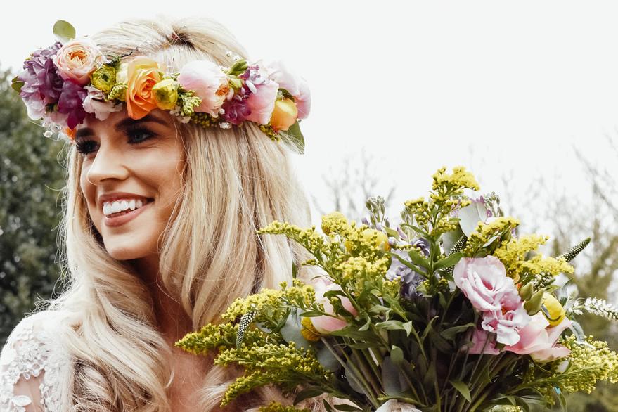 Boho Wedding Photographer Birmingham, Beautiful coulourful portrait of the bride at Wootton Park Warwickshire