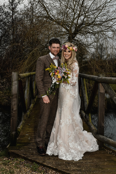 Wedding Photographer Birmingham, boho bride & groom full length photograph looking at the camera at Wootton Park Warwickshire