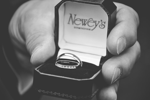 The Limes Solihull Wedding Photographer, Wedding Photographer Birmingham, the groom holding the wedding rings, black & white close up image