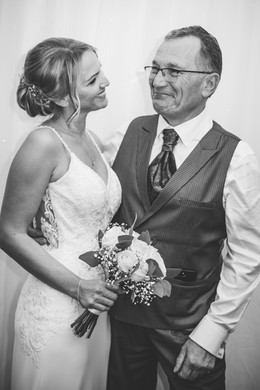 Birmingham Wedding Photographer, the bride & her dad looking at each other, Westmead hotel Redditch