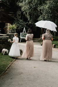 Hampton Manor Wedding photographer Solihull, The bridesmaids & the dog walking towards the ceremony, walking away from the caamera,