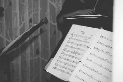 Hampton Manor Wedding Photography Solihull, close up black & white image of some sheet music which was played during the ceremony