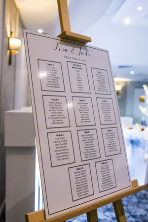 Wedding Photography Birmingham, the seating plan for the sit down meal at the Westmead Hotel Birmingham