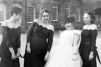 Wedding Photographer Birmingham, bride & bridetribe funny black & white photograph at The West Mill Derby