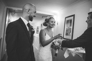 Informal Wedding Photography Birmingham, bride & groom receiving their wedding toast straight after the ceremony at the Westmead hotel Birmingham