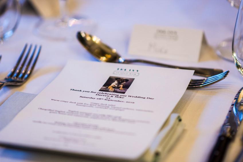 The Ivy Birmingham, Civil Wedding Wedding Photographer Birmingham, close up photograph of the menu for a wedding celebration