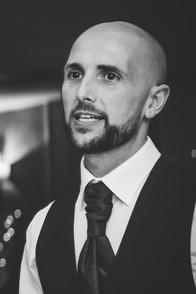 WEdding Photographer Birmingham, close up portrait of the groom at Westmead Redditch