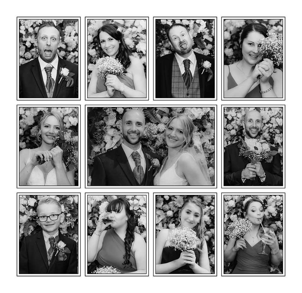 Wedding Photographer Solihull, Birmingham, collage of the bridal party at The Westmead Hotel Birmingham