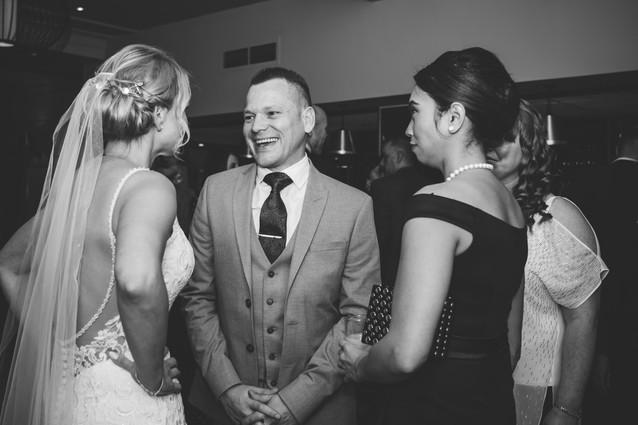 Wedding Photographer Birmingham, wedding guests chatting at the Westmead hotel Birmingham