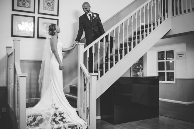 Wedding Photographer Solihull, winter wedding photograph of the bride & groom at the Westmead Redditch