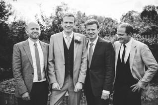 Photography wedding Birmingham, the groom with the groomsmen, informal wedding photograph at the elephant & castle rowington