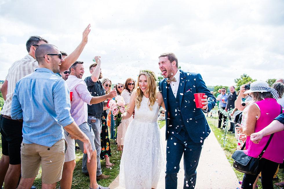 WEdding Photographer Birmingham, fun confetti photograph of the bride & groom