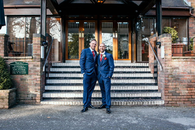 Wedding Photographer Solihull, the groom & best man outside the Westmead hotel Birmingham
