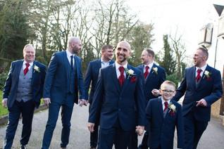 Wedding Photographer Solihull, groom, ushers and best man walking toward the camera, fun informal photograph at Westmead hotel Birmingham