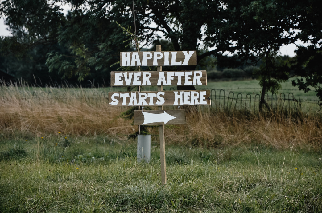 Wedding Photographer Solihull, a wedding sign saying happily ever after starts here @woottonpark Warwickshire