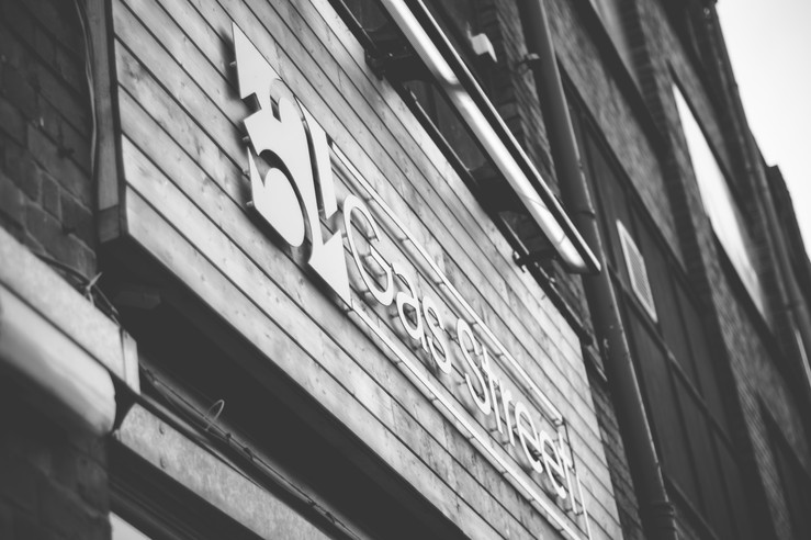 52 Gas Street Birmingham, Wedding photographer Solihull, the sign for the pub, black & white image