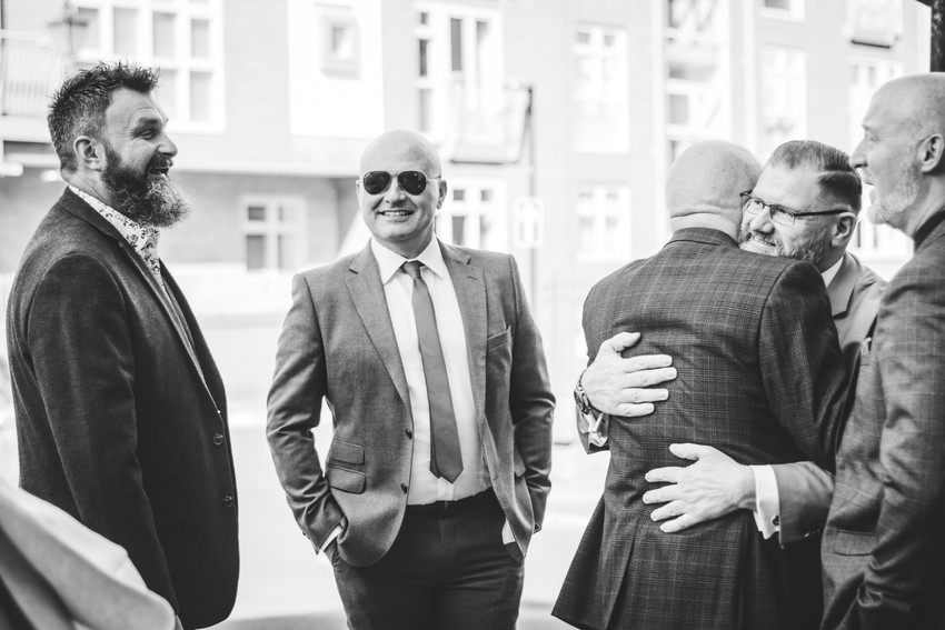 Fun Wedding Photographer Birmingham, the guests chatting outside Birmingham register office, natural, relaxed photograph