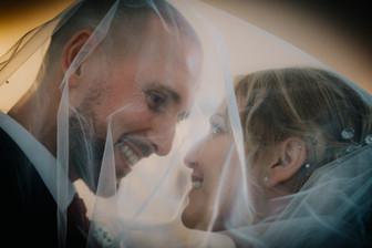 Wedding Photographer Birmingham, the bride & groom under the wedding vail at the Westmead Birmingham