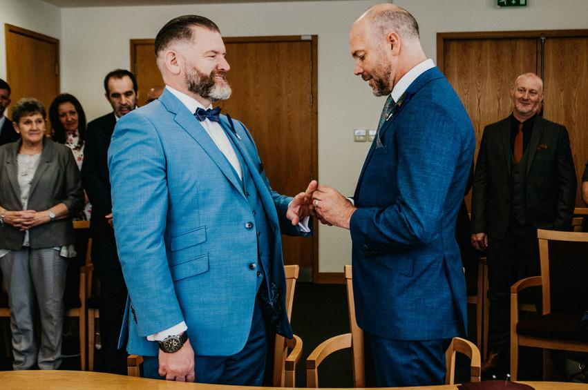 Birmingham Register Office Wedding Photographer Birmingham, the grooms exchanging wedding rings