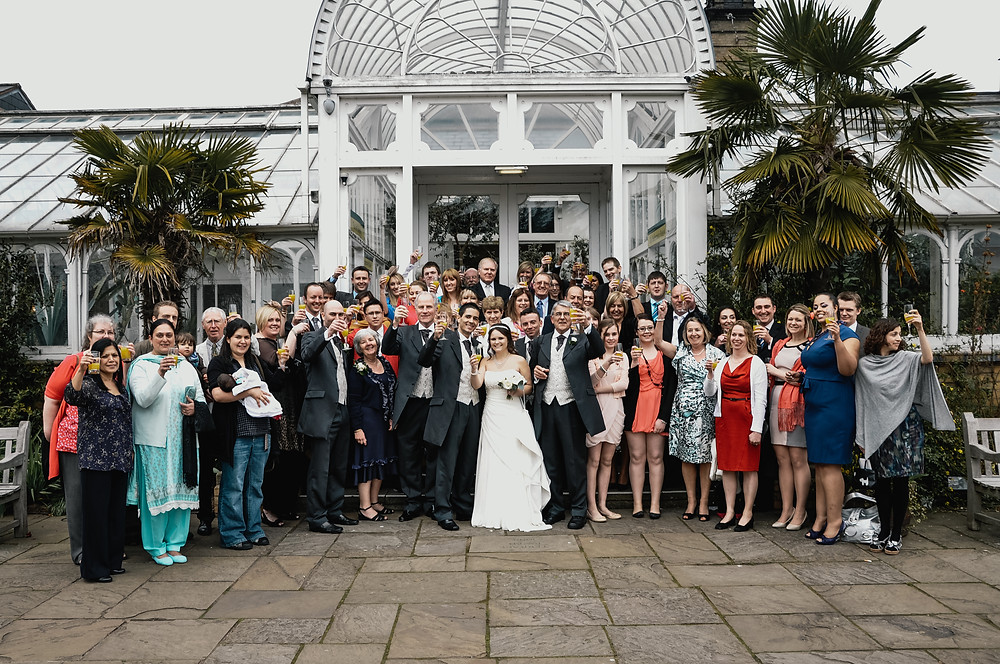Wedding Photographer Solihull, Birmingham, big group photograph at the Botanical Gardens Birmingham