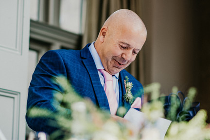 Hampton Manor Wedding Photographer Solihull, fun photograph of the father of the bride during his speech