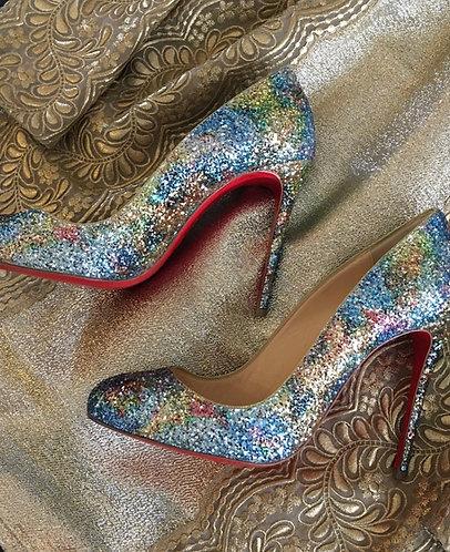 Christian Louboutin Dorissima 100 glitter heels, size 37.5 UK 4.5