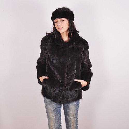 Vintage Womens Real Fur Brown Mink Ladies Mahoganey Jacket & Headband