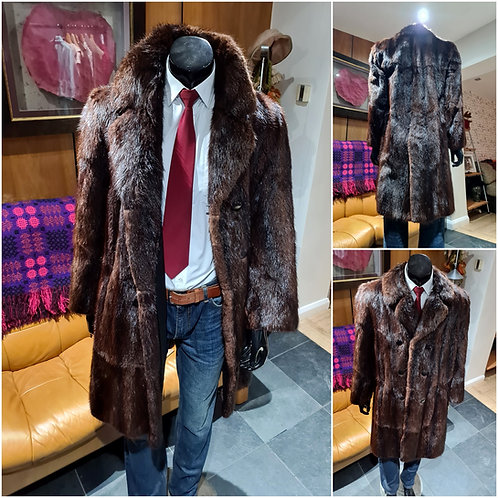 Unique Mans Vintage Mens Real Fur Musquash Mink Shadowstripe 1970s Jacket Coat L
