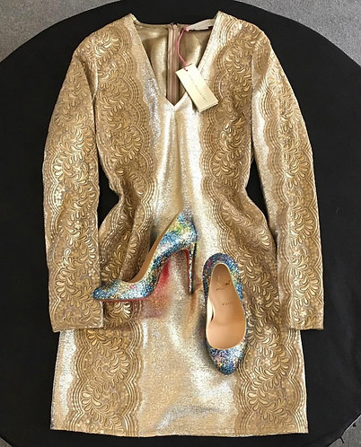 Stella McCartney gold mini dress, UK size 8, new with tags 🏷