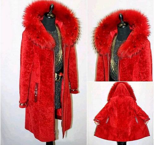 Red Lamb and Fox Fur Ladies Vintage Jacket - UK Size 8
