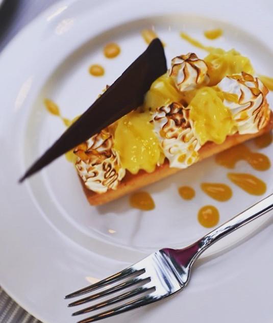 Passion fruit tart with soft meringue