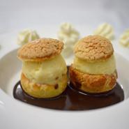 Profiterolles au Chocolate with coconut ice cream