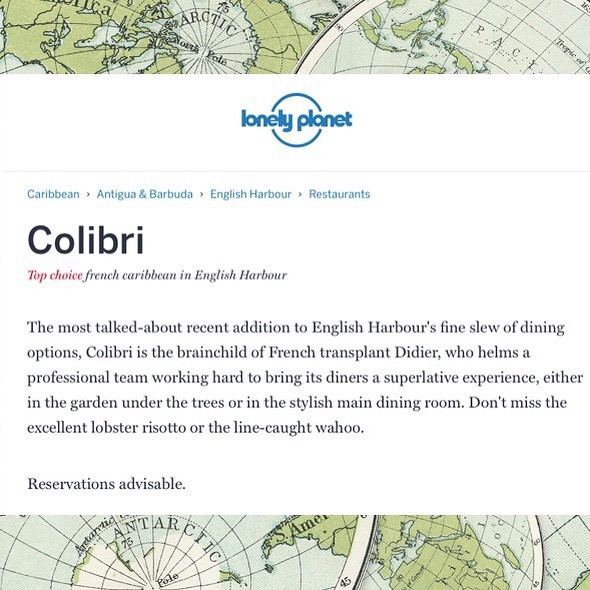 COLIBRI EARNS TOP CHOICE IN LONELY PLANET