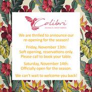 Colibri is open for the winter season of 2020-2021!