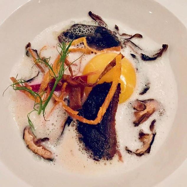 Oeuf parfait, portobello, truffle cream & crispy duck breast