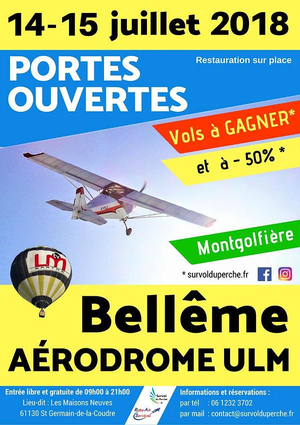 Affiche Portes Ouvertes 14-15 juillet 2018 Survol du Perche - avion ULM aérodrome de Bellême - Perche - Orne en Normandie