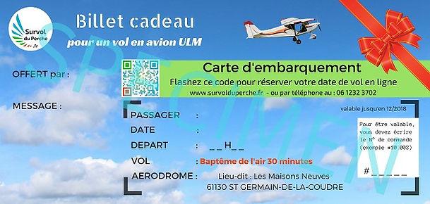 Billet d'avion cadeau Survol du Perche à Bellême - baptême de l'air en avion ULM