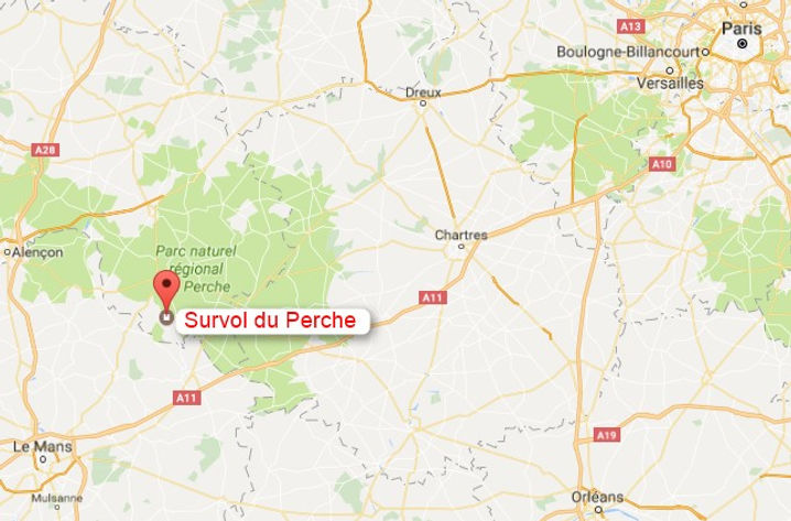 Survol du Perche en avion ULM à Bellême plan d'accès