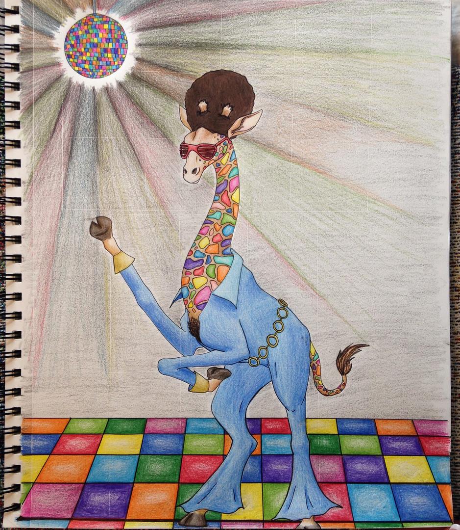 Psychodelic Giraffe - Colored Pencil