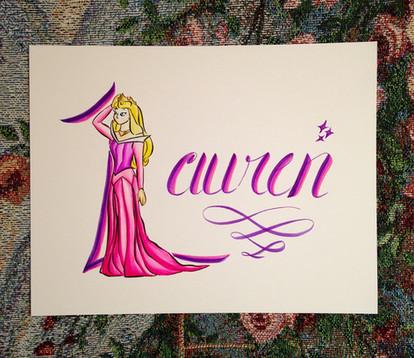 Princess Name Art - Brush Letter Pens