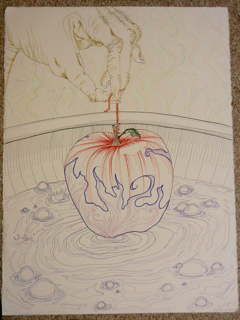 Poisoning the Apple - Pen and Mixed Media