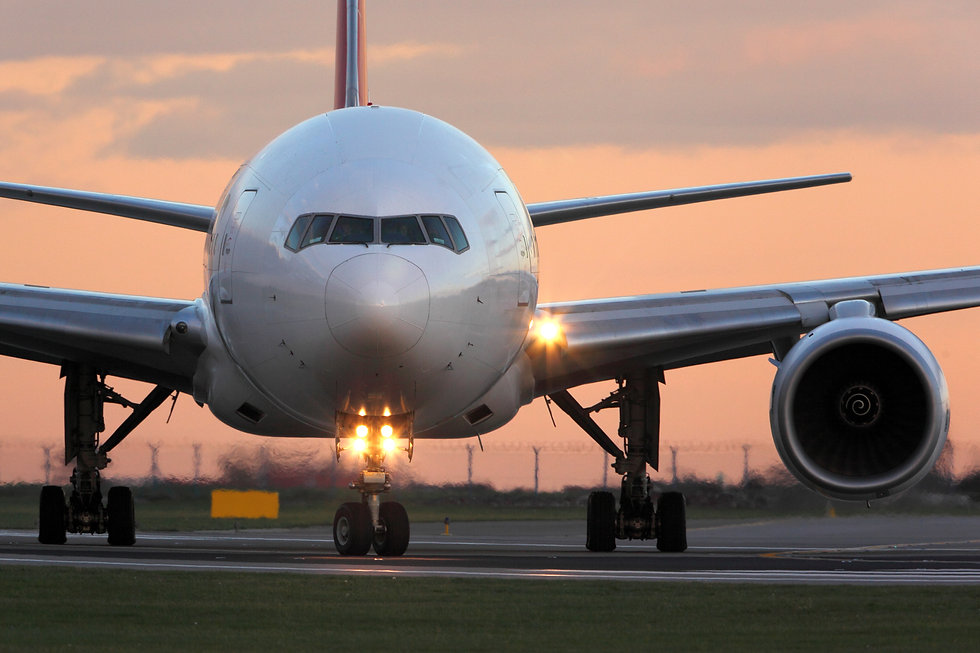 Modern civil passenger airliner taking o