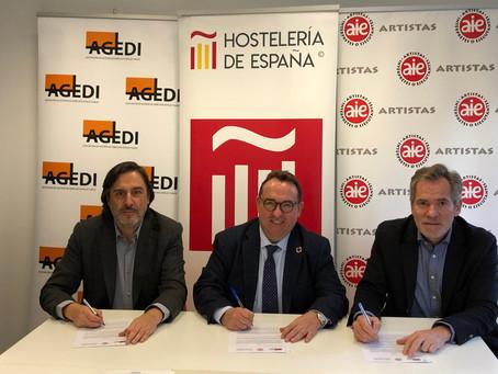 Hostelería de España renueva su convenio con AGEDI y AIE