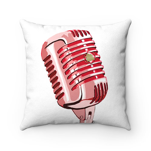 Microphone Checka Suede Square Pillow